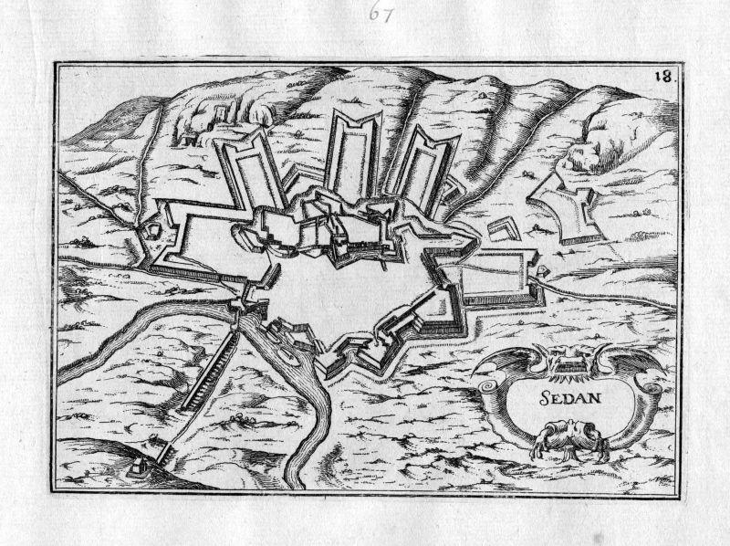 Ca. 1630 Sedan Ardenne Frankreich France Karte map engraving gravure Tassin