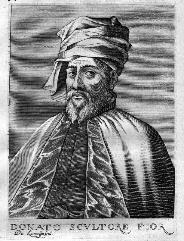 1680 Donatello Bildhauer Florenz sculptor Kupferstich Portrait engraving stampa