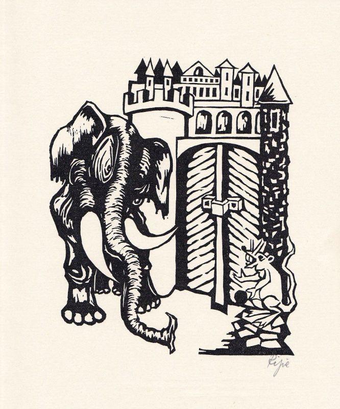 1975 Hermet Ripe Johann Wilhelm Ludwig Gleim Linolschnitt Elefant Maus signiert