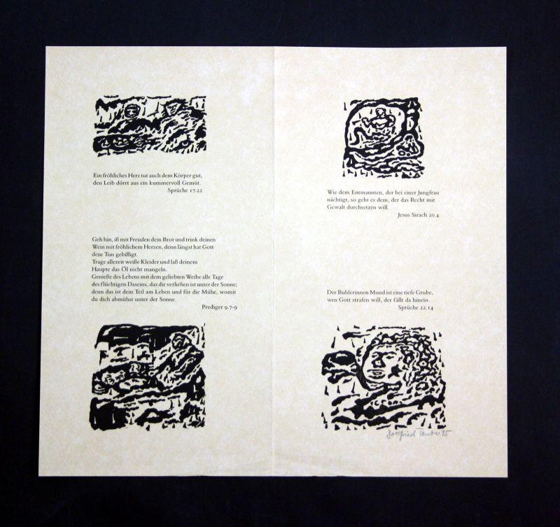 1995 Gottfried Teuber Vier Original-Linolschnitte zu Sprüchen der Bibel signiert
