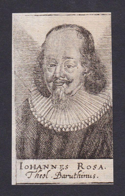 17. Jh. Johannes Rosa / theologian Theologe Historiker Jena Portrait Kupferstich