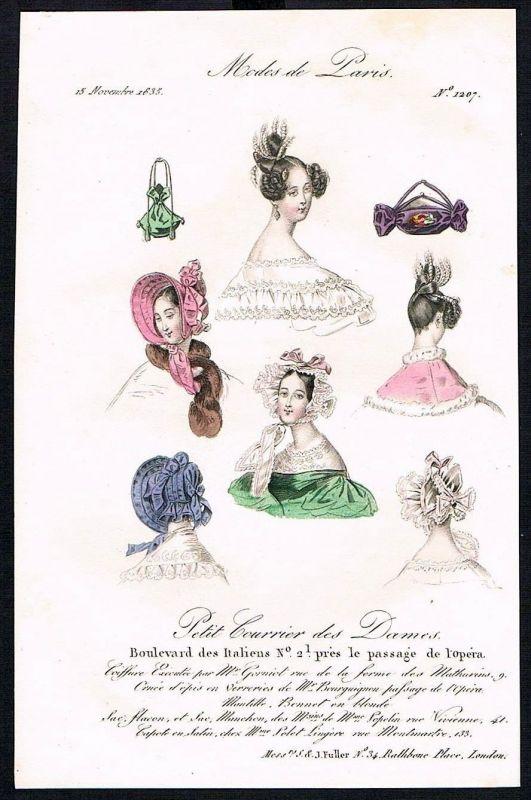 1835 Biedermeier Mode Kupferstich victorian fashion antique print Paris et 61754