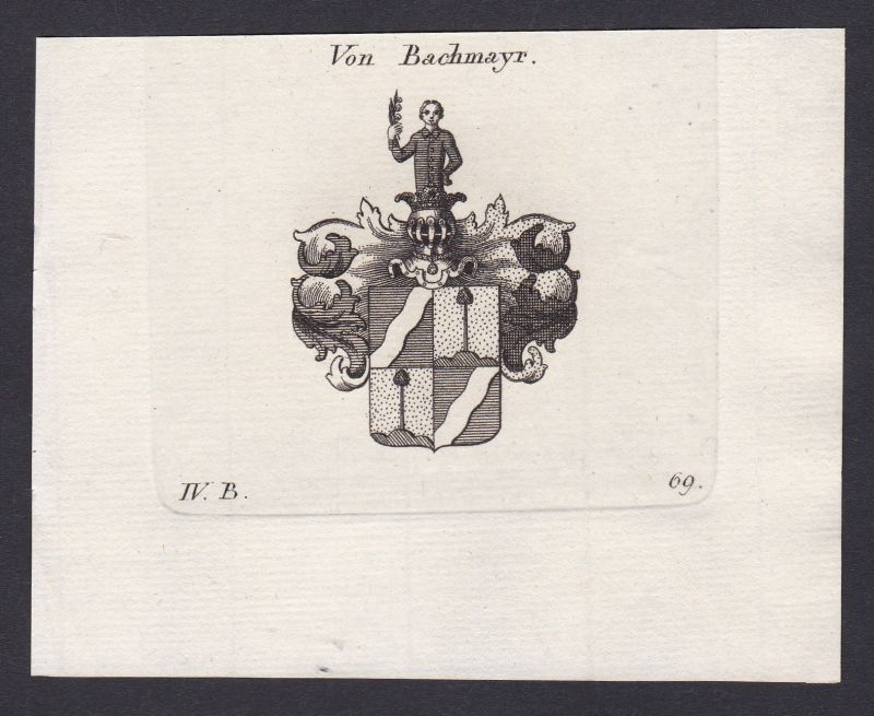 1820 Bachmayr Bachmayer Wappen Adel coat of arms Kupferstich antique print