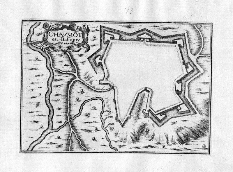 Ca. 1630 Chaumont Frankreich Kupferstich Karte map engraving gravure Tassin
