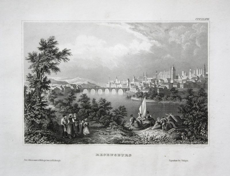 Regensburg Bayern Deutschland Ansicht view Stahlstich antique print ca. 1850