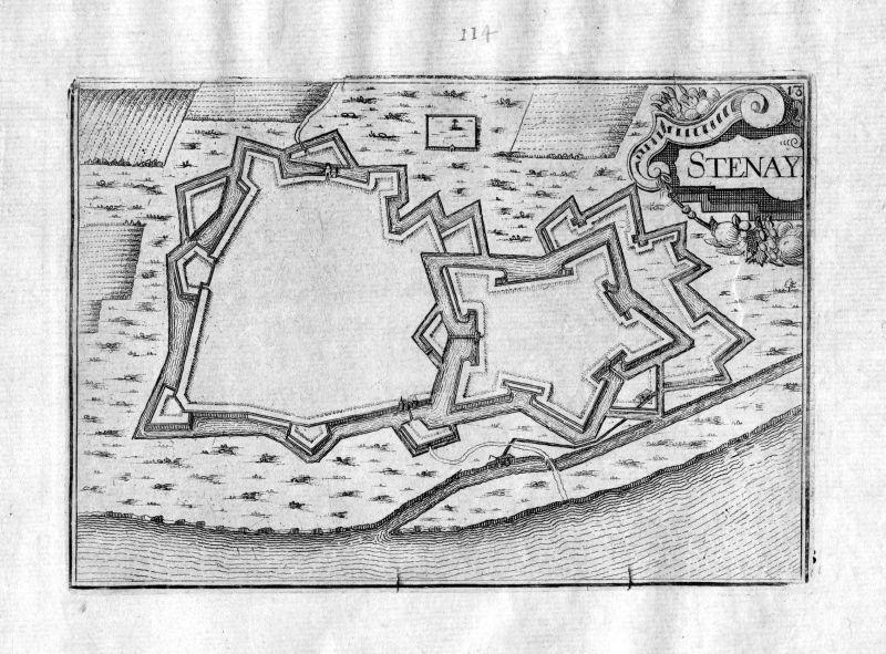 Ca. 1630 Stenay Meuse Frankreich Kupferstich Karte map engraving gravure Tassin