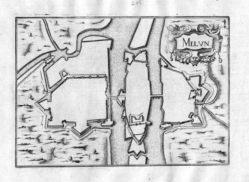 Ca. 1630 Melun Ile-de-France Kupferstich Karte map engraving gravure Tassin