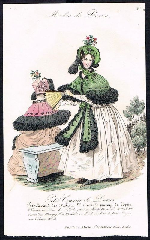 1833  Biedermeier Mode Kupferstich victorian fashion antique print Paris e 61713
