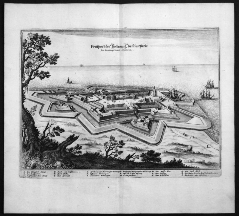 Kiel - Friedrichsort - Festung - Kupferstich Merian Merian: