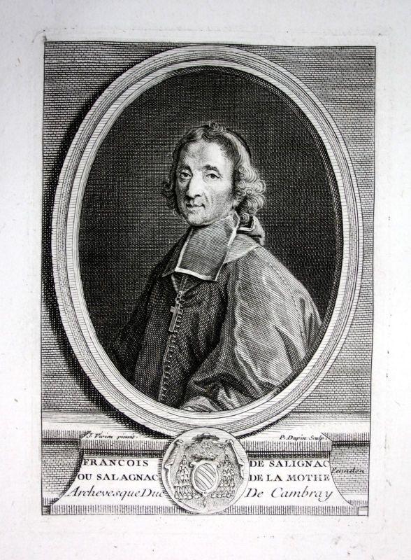 18. Jh. Francois Salignac Mothe Fenelon ecrivain gravure Portrait engraving