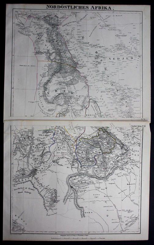 1847 - Egypt Ägypten Africa Sudan Eritrea Lithographie Karte map Flemming