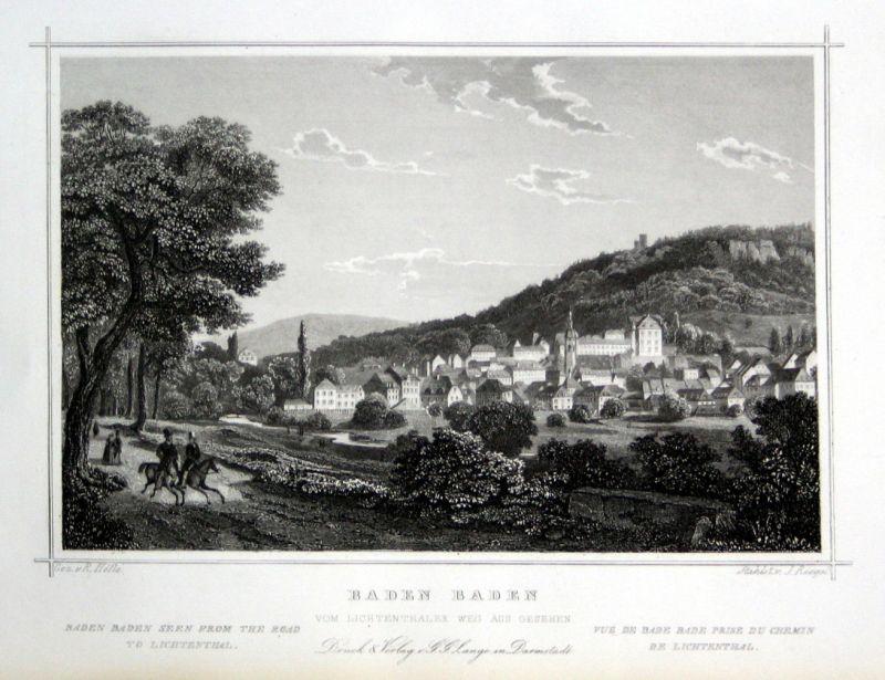 1850 Baden Baden-Württemberg Karlsruhe gravure Stahlstich Riegel Höfle