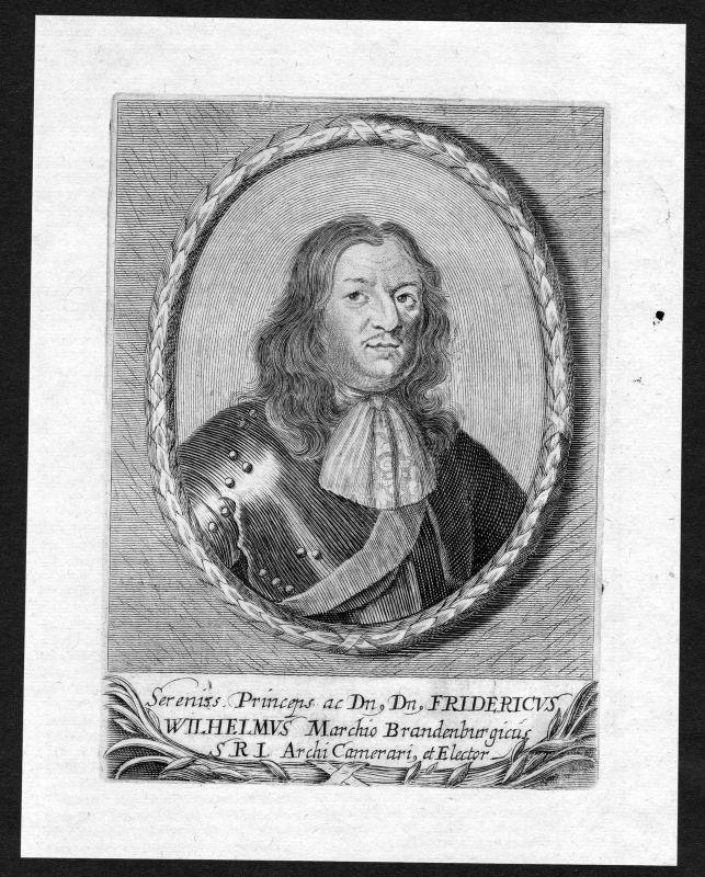 17. Jh. Friedrich Wilhelm Brandenburg Portrait Kupferstich antique print