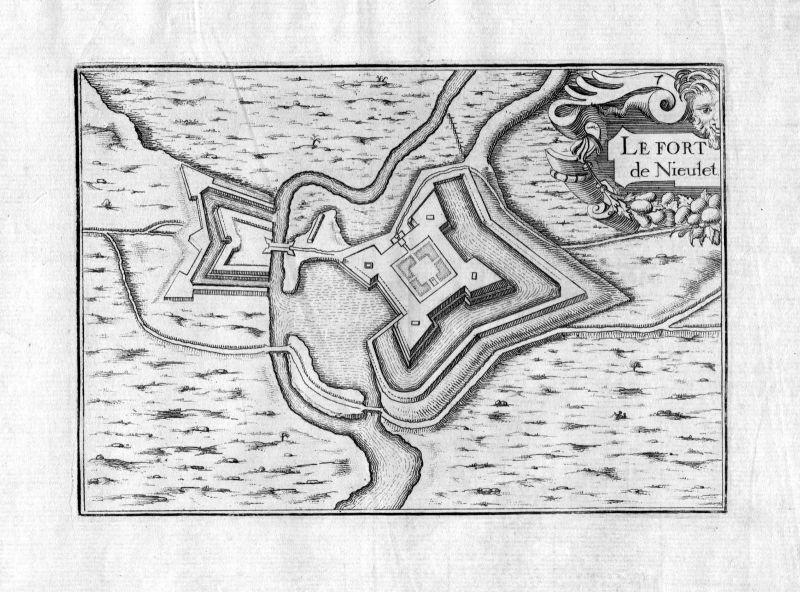 1630 Calais Fort de Nieulet Frankreich Kupferstich Karte map gravure plan Tassin