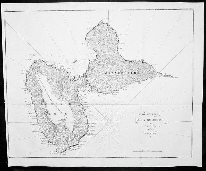 1820 - Guadeloupe Lesser Antilles map Karte gravure estampe Kupferstich carte