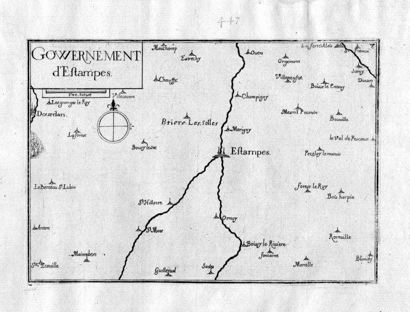 Ca.1630 Etampes Ile-de-France Frankreich France gravure carte Kupferstich Tassin