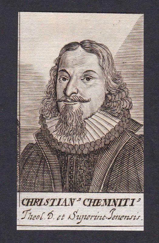 17. Jh. Christian Chemnitz / theologian Theologe Jena Portrait Kupferstich