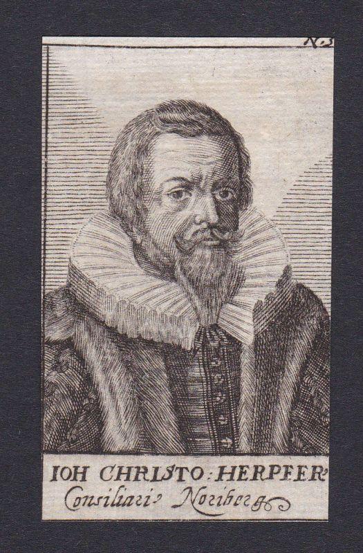 17. Jh. Johann Christoph Herpfer Nürnberg Portrait Kupferstich antique print