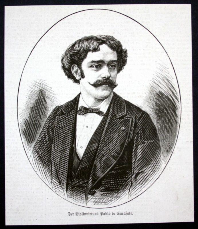 1877 Pablo de Sarasate Geiger Portrait Holzstich antique print