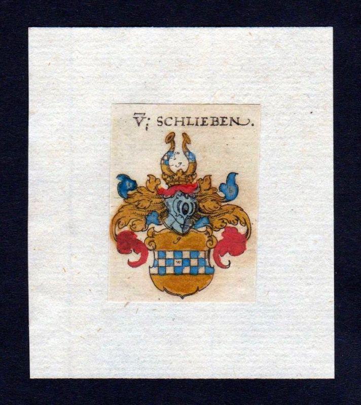 17. Jh Schlieben Wappen coat of arms heraldry Heraldik Kupferstich