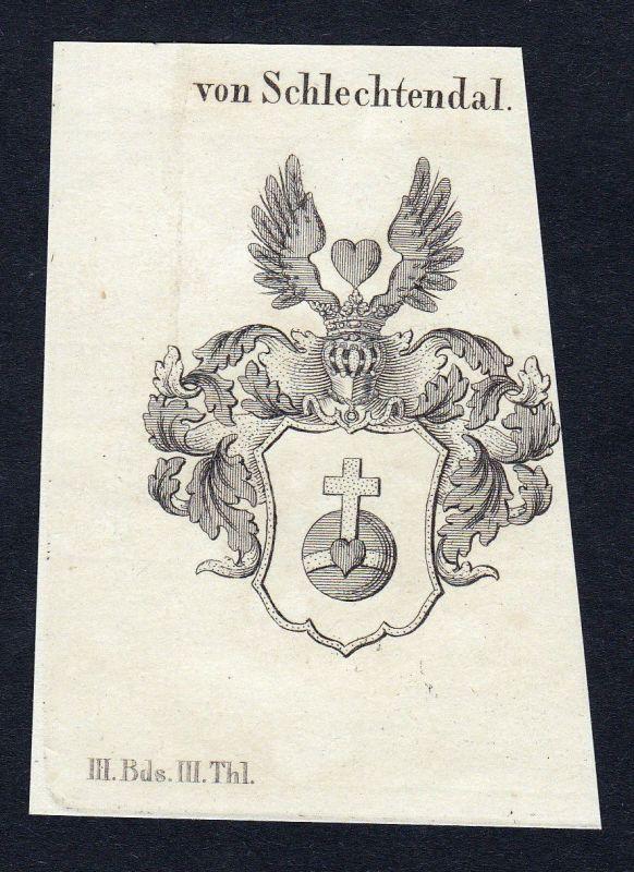 Ca. 1820 Schlechtendal Wappen Adel coat of arms Kupferstich antique print 0