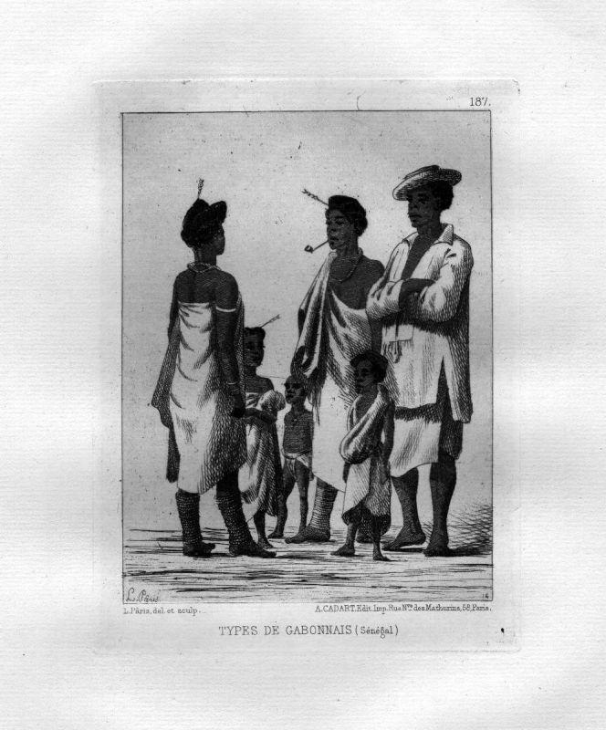 Ca. 1870 Senegal Gabon eau forte gravure etching Radierung Leon Paris