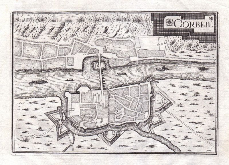 1630 Ile-de-France Corbeil-Essonnes France gravure estampe Kupferstich Tassin 0