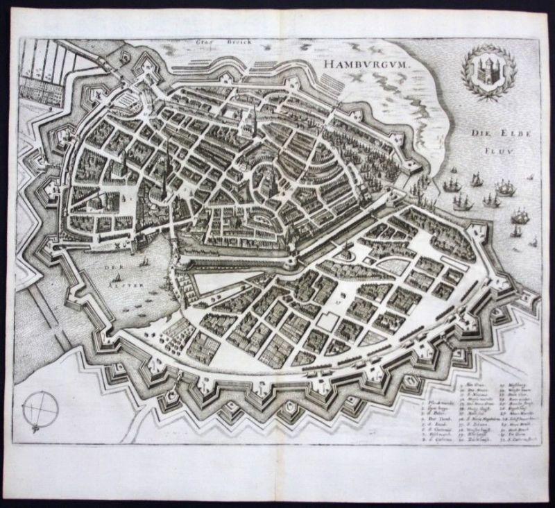 Hamburg / Stadtplan - Gesamtansicht - Karte Kupferstich Merian Merian: