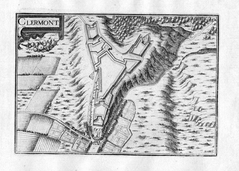1630 Clermont Frankreich France Kupferstich Karte map engraving gravure Tassin