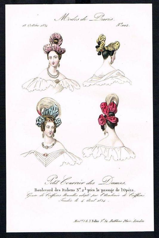 1834 Biedermeier Mode Kupferstich victorian fashion antique print Paris et 61729