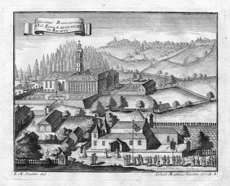 1731 Ramsau Berchtesgaden Augustiner Kloster Kupferstich antique print Steidlin