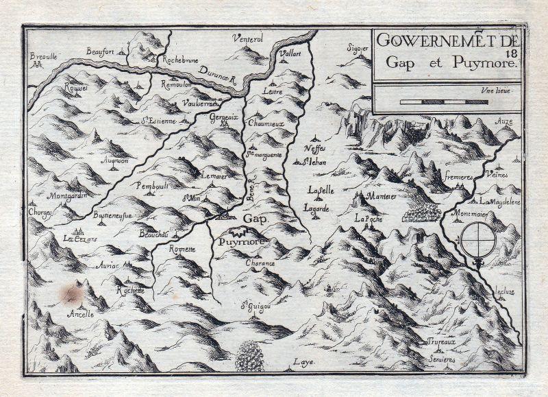 1630 Alpes-Cote d'Azur Haute-Aples France gravure estampe Kupferstich Tas 146334