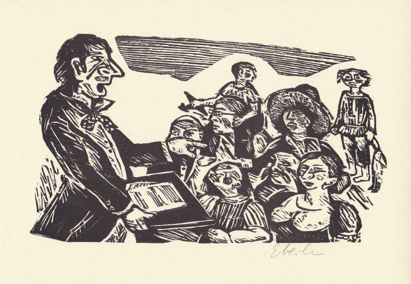 1999 Klaus Eberlein Heinrich Heine Originalholzschnitt zu einem Gedicht signiert