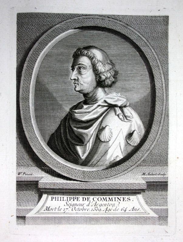 18. Jh. Philippe de Commynes politique historien gravure Portrait engraving