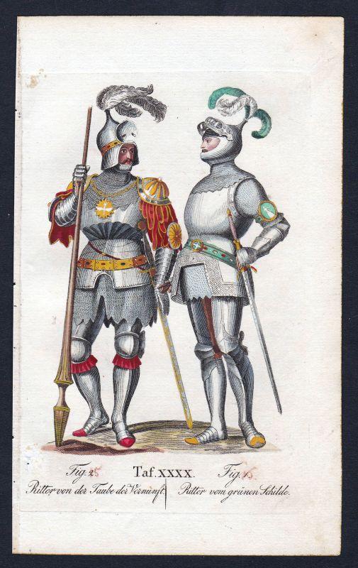 1820 Order of the Dove Ritterorden Orden von der Taube Kupferstich antique print