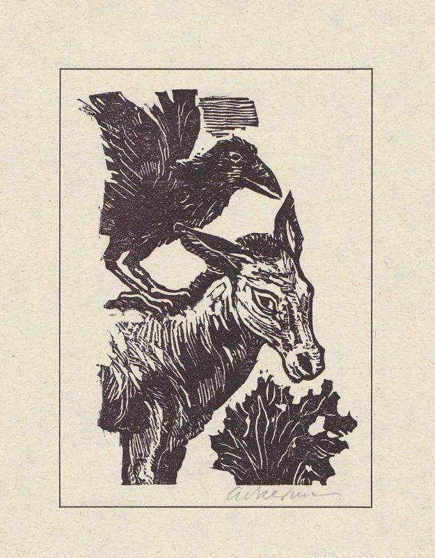 1979 Helmut Ackermann Linolschnitt zu einer Fabel von Aesop signiert
