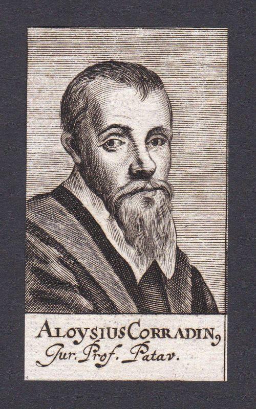 17. Jh. Aloisio Corradin / professor Professor Padova Portrait Kupferstich