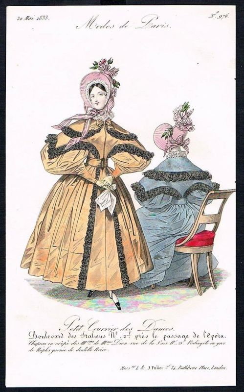 1833  Biedermeier Mode Kupferstich victorian fashion antique print Paris e 61716