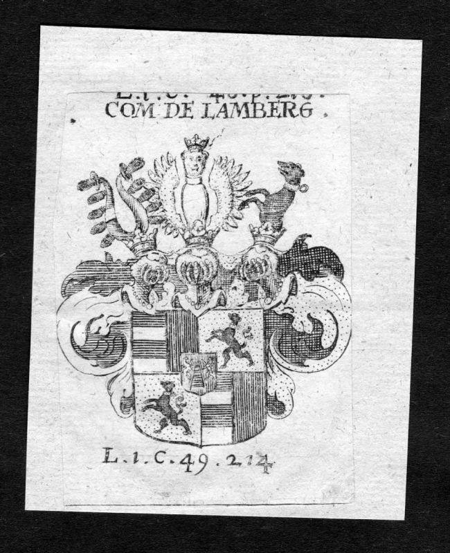 1750 - Lamberg Wappen Adel coat of arms heraldry Heraldik Kupferstich 126549