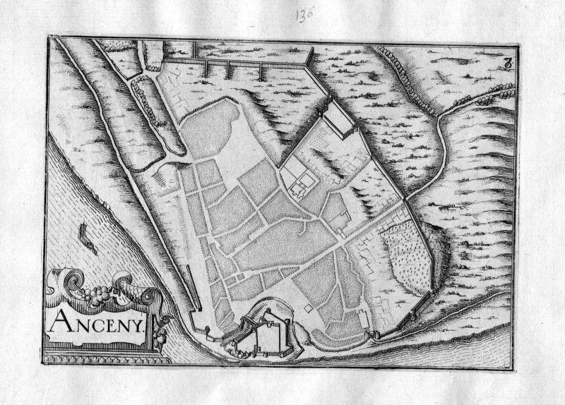 1630 Annecy Haute-Savoie France Kupferstich Karte map engraving gravure Tassin