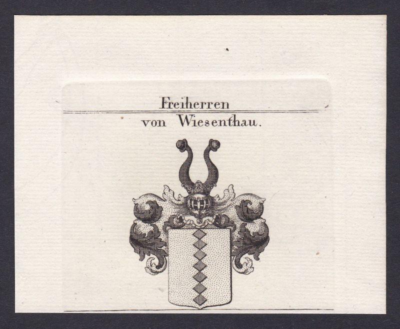 1820 Wiesenthau Franken Wappen Adel coat of arms Kupferstich antique print