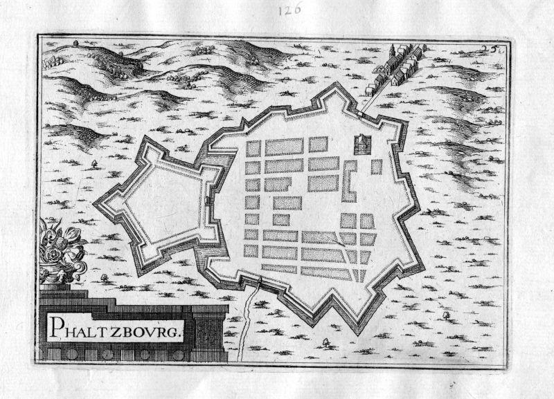 Ca 1630 Phalsbourg Moselle France Kupferstich Karte map engraving gravure Tassin