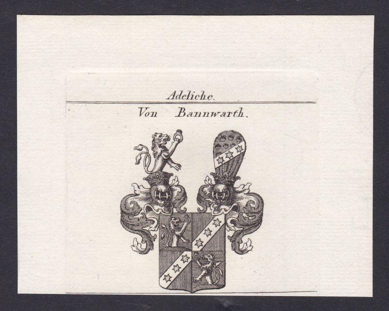 1820 Bannwarth Wappen Adel coat of arms Heraldik Kupferstich antique print