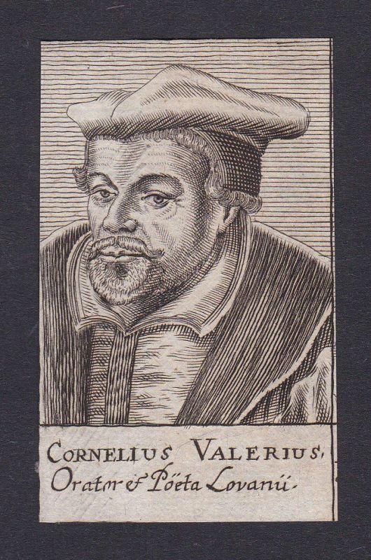 17. Jh. Cornelius Valerius / professor Professor Löwen Portrait Kupferstich