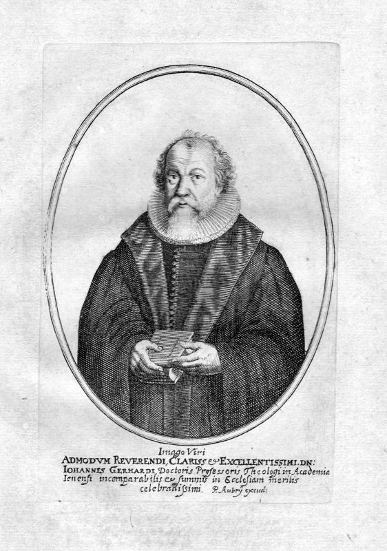 Ca. 1650 Johann Gerhard Jena Theologe Portrait Kupferstich antique print Aubry