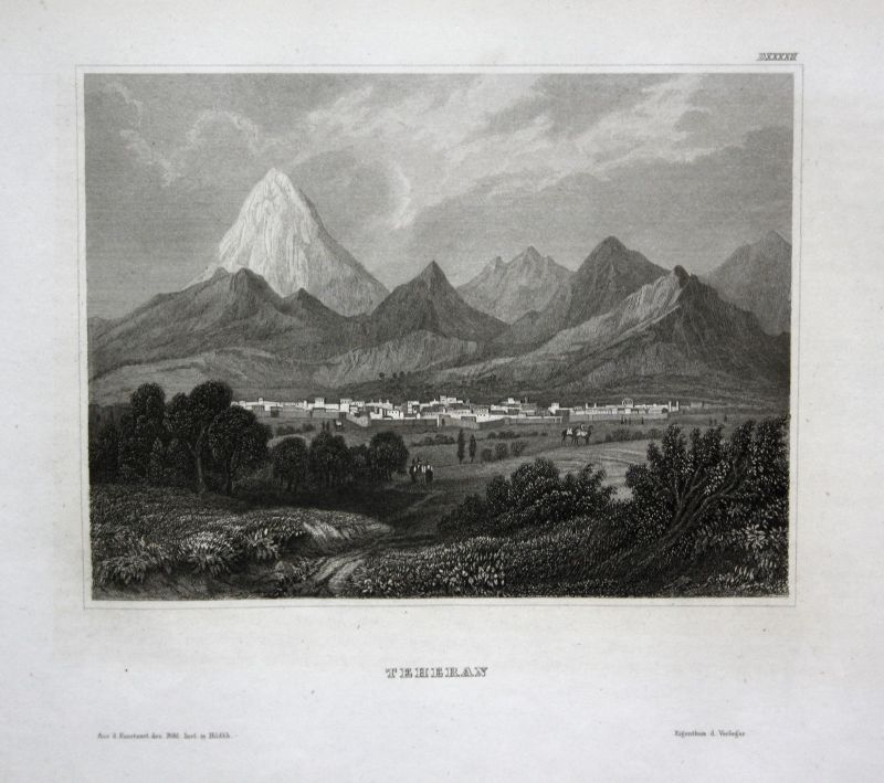 Teheran Iran Ansicht view vue Stahlstich antique print ca. 1850
