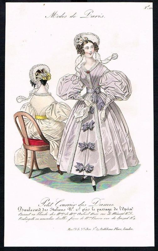 1833  Biedermeier Mode Kupferstich victorian fashion antique print Paris e 61720