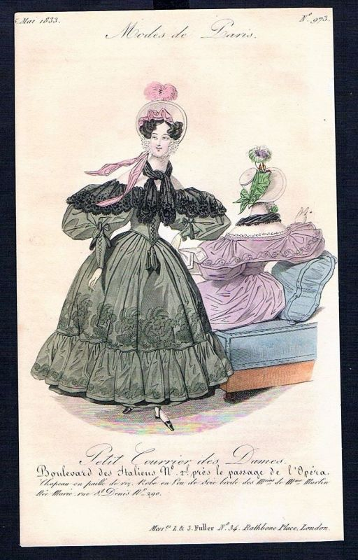 1833  Biedermeier Mode Kupferstich victorian fashion antique print Paris e 61709