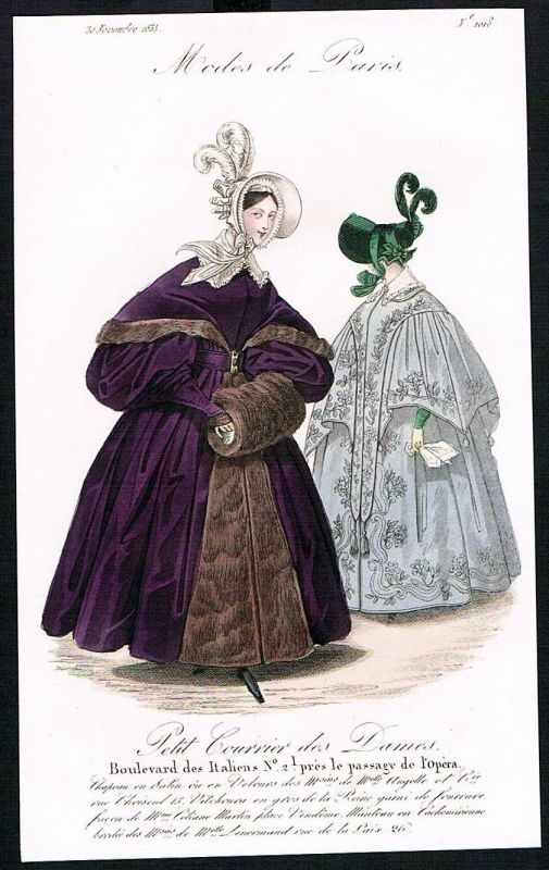 1833  Biedermeier Mode Kupferstich victorian fashion antique print Paris e 61721