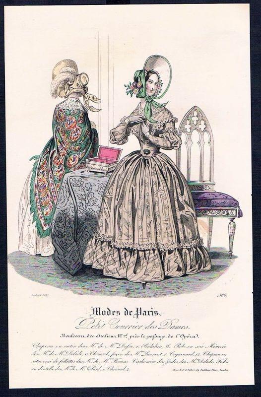 1837 Biedermeier Mode Kupferstich victorian fashion antique print Paris et 88690